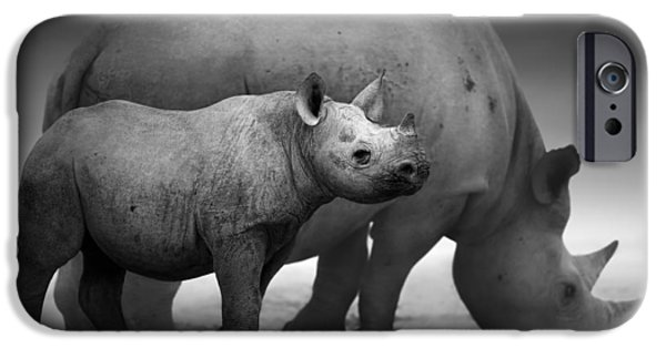 Monotone iPhone Cases - Black Rhinoceros baby and cow iPhone Case by Johan Swanepoel
