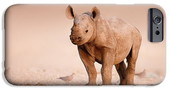 Stand iPhone Cases - Black Rhinoceros baby iPhone Case by Johan Swanepoel