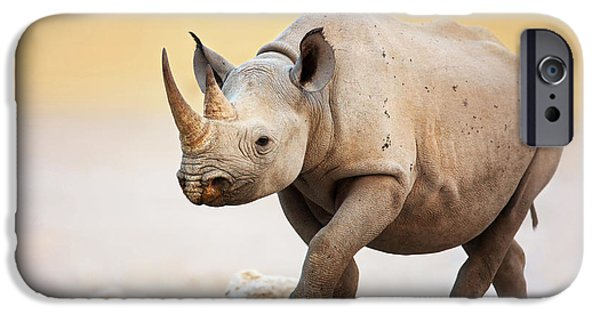 Stand iPhone Cases - Black Rhinoceros iPhone Case by Johan Swanepoel
