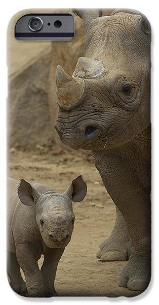 Lips iPhone Cases - Black Rhinoceros Mother And Calf iPhone Case by San Diego Zoo