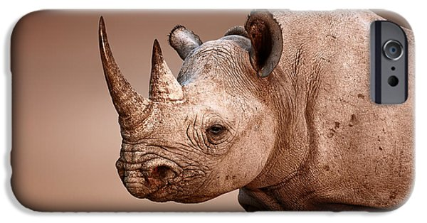 Shoulders iPhone Cases - Black Rhinoceros portrait iPhone Case by Johan Swanepoel