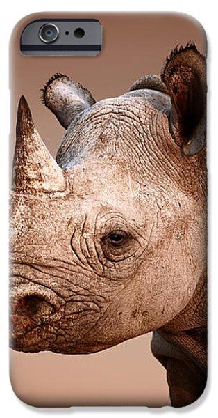 Black Rhinoceros portrait iPhone Case by Johan Swanepoel