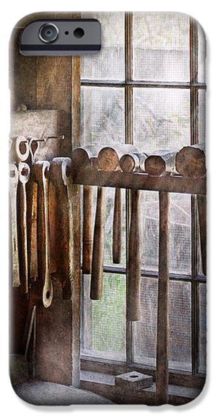 Black Smith - Draw plates and hammers  iPhone Case by Mike Savad