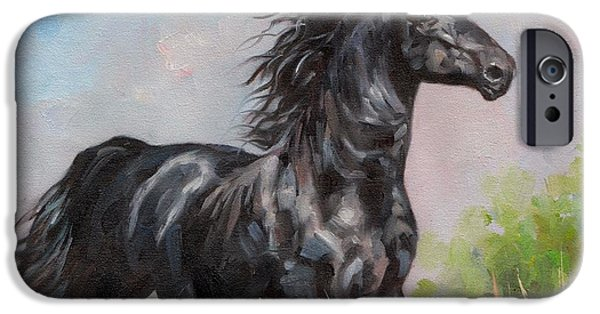 Horse iPhone Cases - Black Stallion iPhone Case by David Stribbling