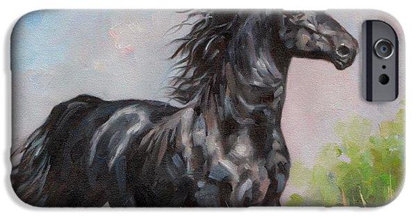 Stallion iPhone Cases - Black Stallion iPhone Case by David Stribbling