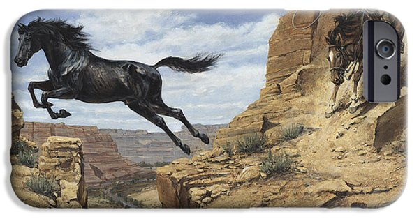 Escape iPhone Cases - Black Stallion Jumping Canyon iPhone Case by Don  Langeneckert