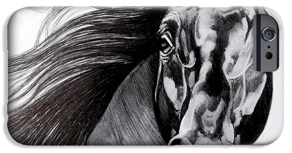 Drawing Of A Horse iPhone Cases - Black Standardbred Stallion iPhone Case by Cheryl Poland