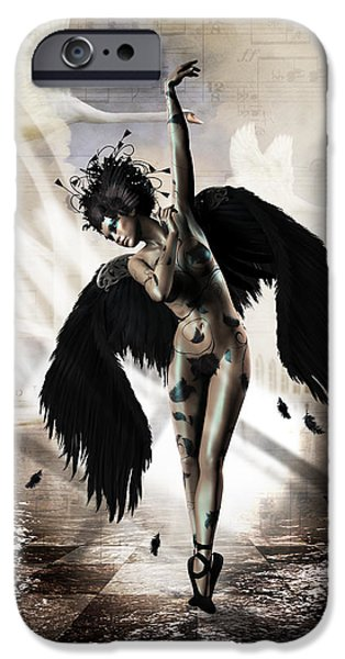 Ballet Dancers iPhone Cases - Black Swan iPhone Case by Shanina Conway