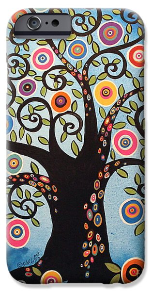 Tree Art Print iPhone Cases - Black Swirl Tree iPhone Case by Karla Gerard