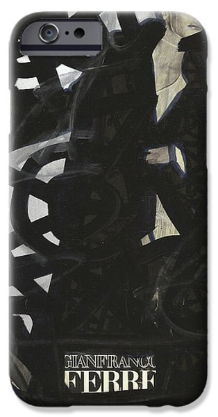 Circuit Drawings iPhone Cases - Black Swirls of Pop Graffiti Model iPhone Case by Edward X