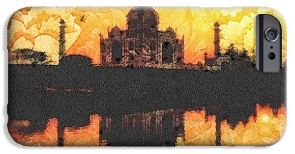 Buildings Mixed Media iPhone Cases - Black Taj Mahal iPhone Case by Mo T