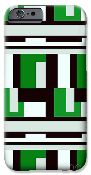 Multimedia iPhone Cases - Black White Green Verti iPhone Case by Tina M Wenger