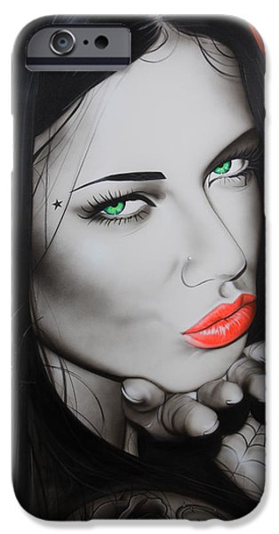Black Spider iPhone Cases - Black Widow iPhone Case by Christian Chapman Art