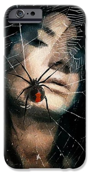 Black widow iPhone Case by Gun Legler