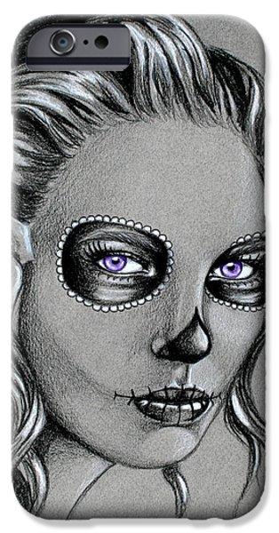 Monotone Drawings iPhone Cases - Black Widow iPhone Case by Louise Nylander
