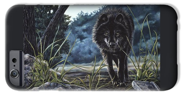 Timber iPhone Cases - Black Wolf Hunting iPhone Case by Lucie Bilodeau