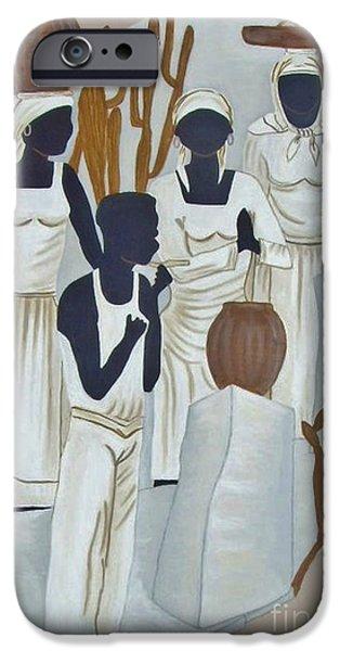Paiting iPhone Cases - Black Women At Work 2 iPhone Case by Bozena Simeth