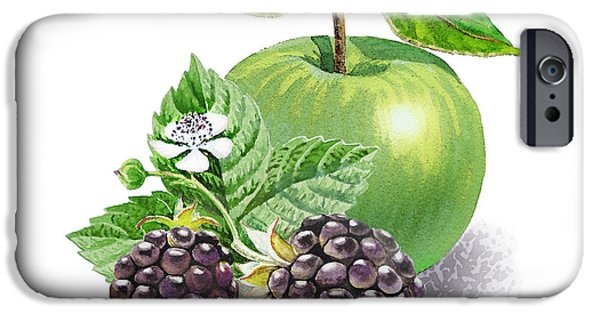 Nature Study Paintings iPhone Cases - Blackberries And Green Apple iPhone Case by Irina Sztukowski