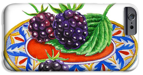 Electronic Paintings iPhone Cases - Blackberries On Deruta Plate iPhone Case by Irina Sztukowski