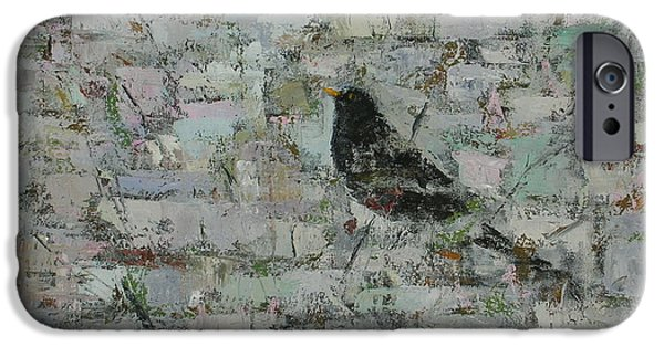 Monochromatic iPhone Cases - Blackbird In Tree Detail, 2012, Oil On Canvas iPhone Case by Ruth Addinall