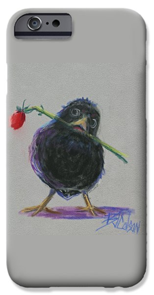 Baby Bird Pastels iPhone Cases - Blackbird Love iPhone Case by Billie Colson