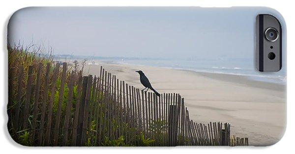Sea Birds Digital Art iPhone Cases - Blackbird on a Fence on the Beach iPhone Case by Bill Cannon