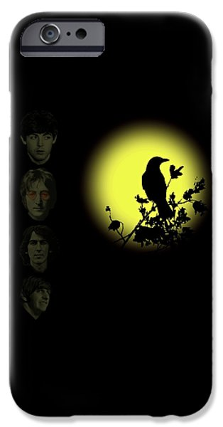 Beatles iPhone Cases - Blackbird Singing in the Dead of Night iPhone Case by David Dehner