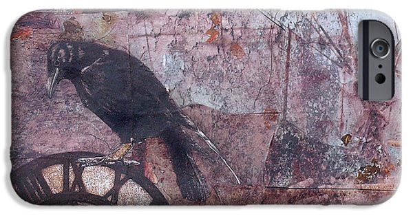 Mechanism Mixed Media iPhone Cases - Blackbird Time iPhone Case by Judy Tolley