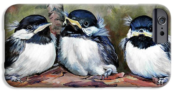 Baby Bird Paintings iPhone Cases - Blackcapped Chickadee Babies iPhone Case by Suzanne Schaefer