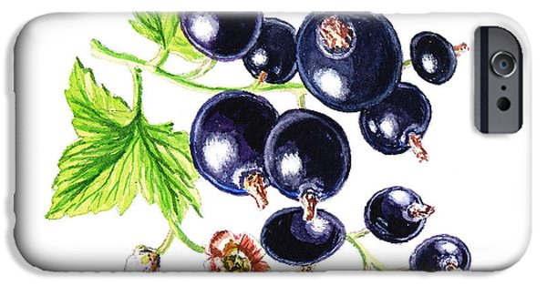 Electronic Paintings iPhone Cases - Blackcurrant Happy Berries iPhone Case by Irina Sztukowski