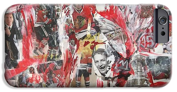 Bobby iPhone Cases - Blackhawks collage iPhone Case by John Sabey Jr