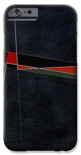 Abstracts iPhone Cases - Blacknoll Reciprocal Forms With Red And Green Oil & White Ink On Board iPhone Case by George Dannatt