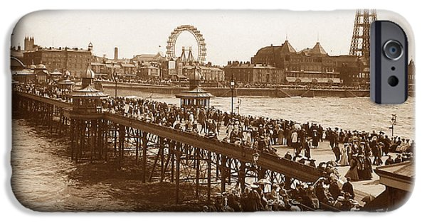 Antiques iPhone Cases - Blackpool Tower and Wheel from the Pier England iPhone Case by The Keasbury-Gordon Photograph Archive