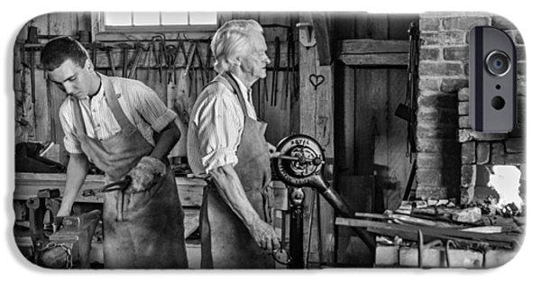 Antique Ironwork iPhone Cases - Blacksmith and Apprentice 2 bw iPhone Case by Steve Harrington
