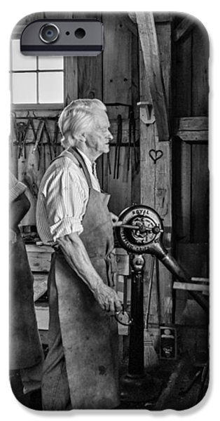 Blacksmith and Apprentice 2 bw iPhone Case by Steve Harrington