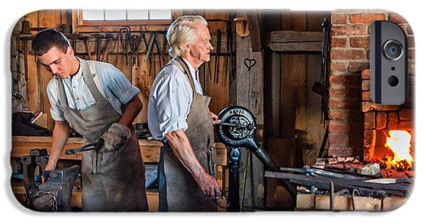 Work Tool iPhone Cases - Blacksmith and Apprentice 2 iPhone Case by Steve Harrington