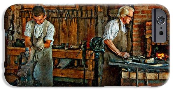 Antique Ironwork iPhone Cases - Blacksmith and Apprentice impasto iPhone Case by Steve Harrington