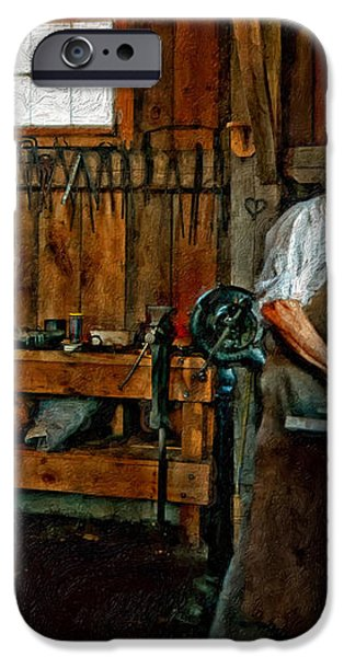 Blacksmith and Apprentice impasto iPhone Case by Steve Harrington