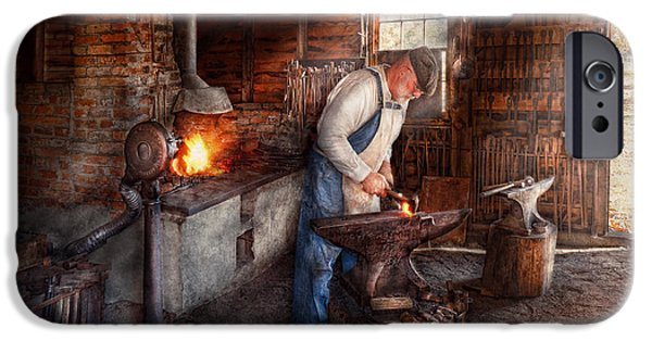 Work Tool iPhone Cases - Blacksmith - The Smith iPhone Case by Mike Savad