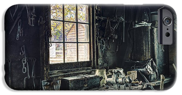 Work Tool iPhone Cases - Blacksmiths Workbench - One October Afternoon iPhone Case by Gary Heller