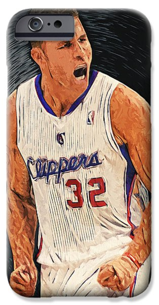 American Basketball Player iPhone Cases - Blake Griffin iPhone Case by Taylan Soyturk
