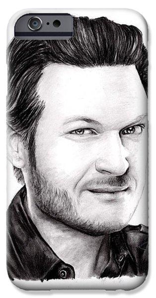 Blake Drawings iPhone Cases - Blake Shelton iPhone Case by Rosalinda Markle