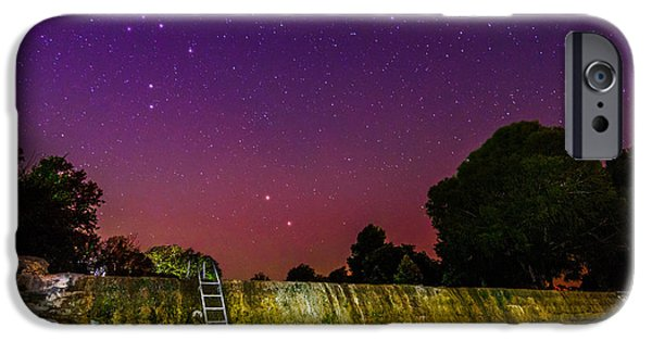 Ursa Minor iPhone Cases - Blanco River Dam at Night - Texas Hill Country Blanco Texas iPhone Case by Silvio Ligutti