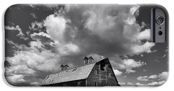 Old Barn iPhone Cases - Blasdel Barn - Black and White iPhone Case by Mark Kiver