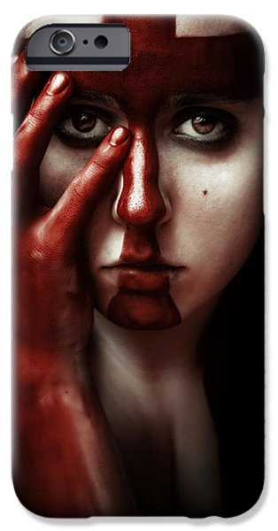 Gore iPhone Cases - Blasphemous iPhone Case by Joanna Jankowska
