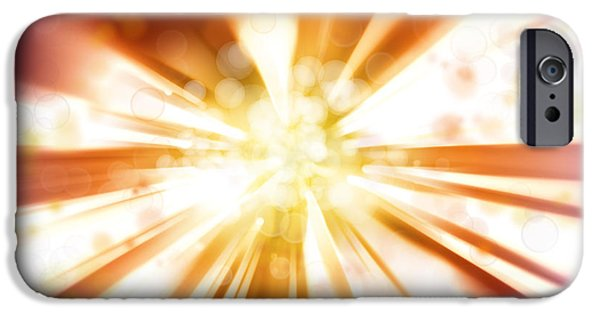 Sun Rays Digital iPhone Cases - Blast background  iPhone Case by Les Cunliffe