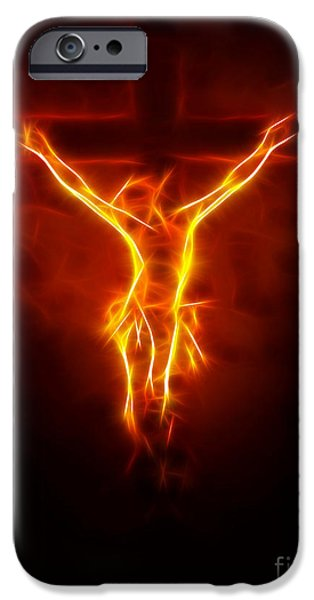The Church Mixed Media iPhone Cases - Blazing Jesus Crucifixion iPhone Case by Pamela Johnson