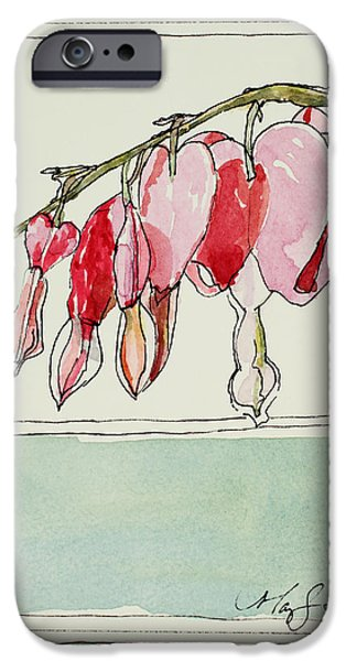 Bleeding Hearts II iPhone Case by Mary Benke