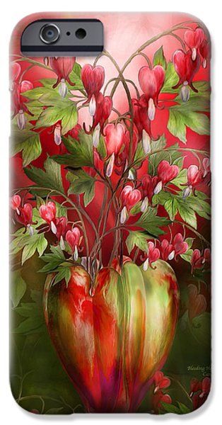 Bleeding Hearts iPhone Cases - Bleeding Hearts In Heart Vase iPhone Case by Carol Cavalaris