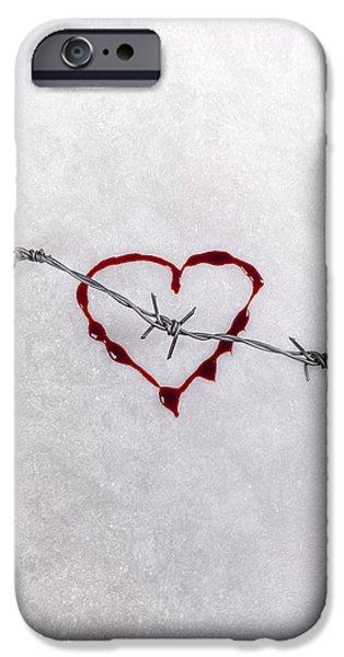 Creepy iPhone Cases - Bleeding Love iPhone Case by Joana Kruse